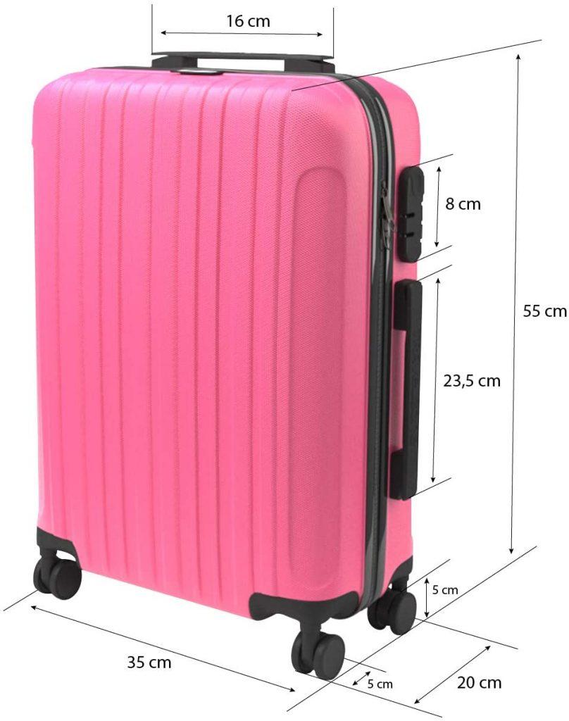 Maleta-de-cabina-rigida-ligera-con-4-ruedas-tipo-trolley-Eglemtek-ABS-de-color-rosa
