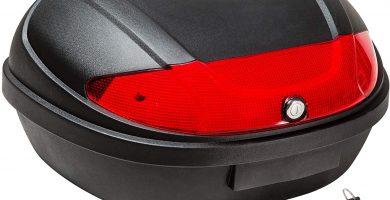 Capacidad para 2 cascos Adecuado para vespa, ciclomotor, moto, quad, ATV, etc. Bloqueo de seguridad con 2 llaves Reflector extragrande para una máxima seguridad Dimensiones externas: 58 cm x 43 cm x 32 cm l Capacidad: aprox. 48 litros
