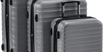 AmazonBasics - Juego de 3 maletas rígidas giratorias prémium (55 cm, 68 cm, 78 cm), gris