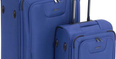 AmazonBasics - Set de dos maletas con ruedas, de calidad superior, expandible, con lados blandos y cierre con candado TSA, (53 cm, 74 cm), Azul