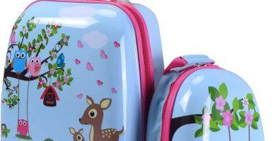 COSTWAY Equipaje Infantil de Viaje Juego de Mochila y Maleta para Niños Maleta de 4 Ruedas Giratorias (Ciervo y búho)