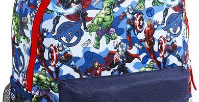 Marvel Avengers Mochila Niño, Mochilas Escolares Juveniles con Superheroes Capitan America Iron Man Hulk y Thor, Mochila para Deporte Viaje Colegio, Regalos para Niños Adolescentes