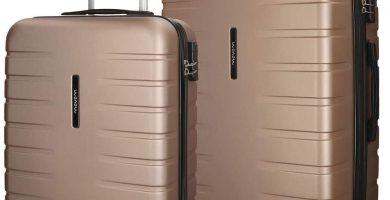 Movom Turbo Juego de maletas color Beige 55-69 cms. Rígida ABS y Cierre Combinación con 4 Ruedas dobles.