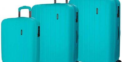 Movom Wood Juego de maletas Azul 55-65-75 cms Rígida ABS Cierre TSA 220L 4 Ruedas Dobles Equipaje de Mano