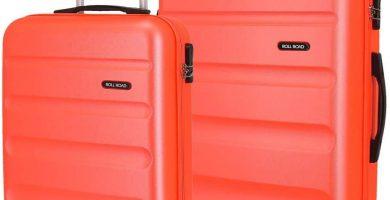 Roll Road Flex Juego de maletas Naranja 55-65 cms Rígida ABS Cierre combinación 91L 4 Ruedas Equipaje de Mano