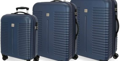 Roll Road India Juego de Maletas Azul 55-70-80 cms Rígida ABS Cierre combinación 220L 4 Ruedas Dobles Equipaje de Mano
