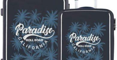 Roll Road Palm Juego de Maletas Azul 55-68 cms Rígida ABS Cierre combinación 100.5L 4 Ruedas Dobles Equipaje de Mano