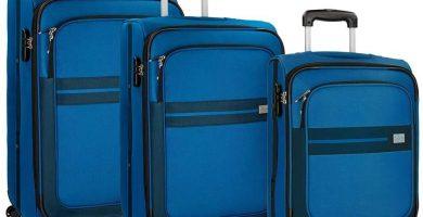 Roll Road Sicilia Juego de maletas Negro 55-66-76 cms Blanda Poliéster Cierre combinación 195L 4 Ruedas Equipaje de Mano