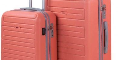 SKPAT - Juegos de Maletas con USB de Viaje 4 Ruedas Trolley abs. rígidas s cómodas y Ligeras. candado TSA. tamaños pequeña Cabina y Mediana. Calidad y diseño. 175015, Color Coral