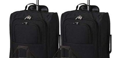 5 Cities - Ryanair Cabin Approved Main & Second Hand Luggage - Carry On Both Equipaje de mano, 54 cm, 42 liters, Negro, conjunto de 2 trolley y 2 bolsas total de 4 piezas