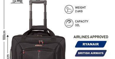 Aerolite 17 Executive Cabin Luggage Business Bag Bolsa para portátil con Ruedas – Aprobado para Ryanair, Easyjet, BA y Jet2, Negro (Negro) 55x20x38 cm