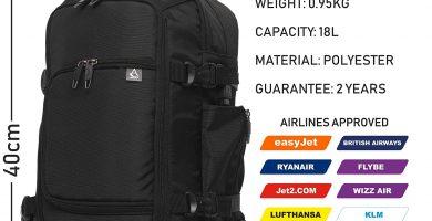 Aerolite 40x20x25cm Tamaño Máximo Permitido por Ryanair Equipaje de Mano Bolsa de Cabina Bolsa de Hombro Mochila Bolsa de Vuelo 40x20x25, Negro.