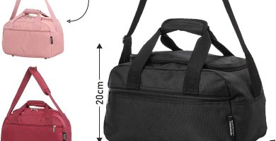 Aerolite Holdall Maximum Ryanair Hand Luggage Cabin Sized Flight Shoulder Bag Equipaje de Mano, 35 cm, 14 Lt, Negro, Rosa Gold o Wine.