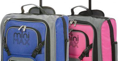 Minimax Equipaje Infantilde Cabina para niños y niñas. Equipaje Maleta Trolley con la Mochila y la Bolsa (Azul + Rosa).